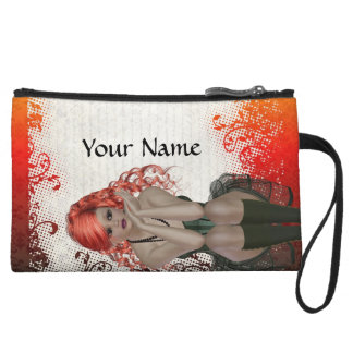 Red headed goth girl wristlet wallet