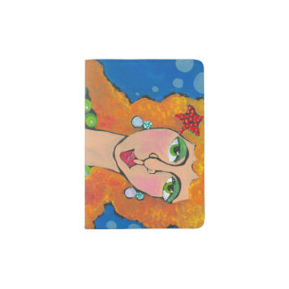 red headed mermaid passport holder