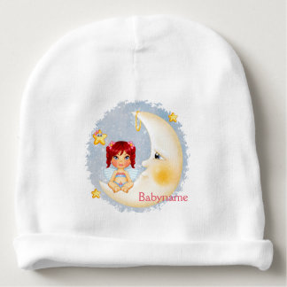 Red Headed Moon Angel Personalized Baby Beanie