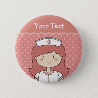 Red-Headed Nurse Pinback Button