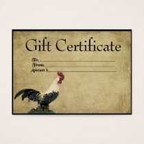 Red Headed Rooster- Prim Gift Certificate Cards