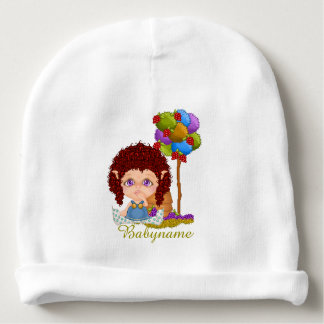 Red Headed Summer Faery & Berries Personalized Baby Beanie