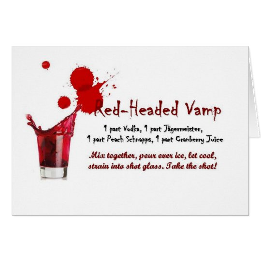 red-headed vamp drink recipe card
