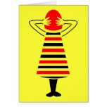 Red Headed Woman Abstract Art Greeting Card