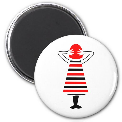 Red Headed Woman Abstract Art Refrigerator Magnets