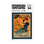Red-Headed Woman Awaits Balloons Birds Poster Postage Stamp