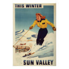Red-headed Woman Smiling and Skiing Poster