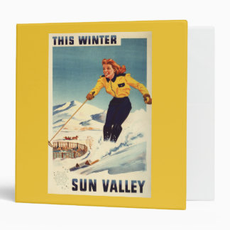 Red-headed Woman Smiling and Skiing Poster Vinyl Binders