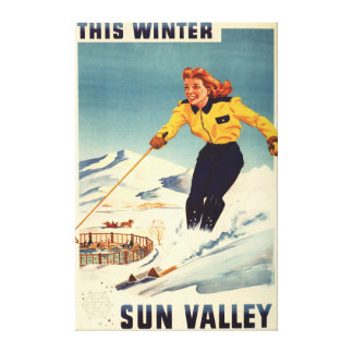 Red-headed Woman Smiling and Skiing Poster Canvas Print