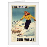 Red-headed Woman Smiling and Skiing Poster Card