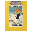 Red-headed Woman Smiling and Skiing Poster Clipboard