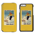 Red-headed Woman Smiling and Skiing Poster iPhone 6/6s Wallet Case