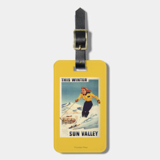 Red-headed Woman Smiling and Skiing Poster Luggage Tag