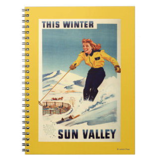 Red-headed Woman Smiling and Skiing Poster Note Books