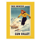 Red-headed Woman Smiling and Skiing Poster Postcard