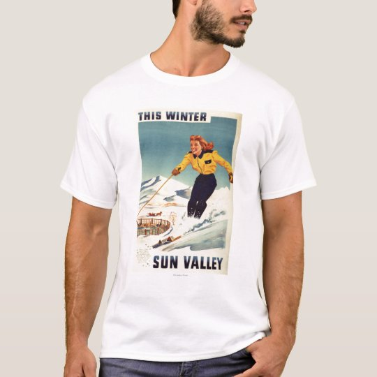Red-headed Woman Smiling and Skiing Poster T-Shirt