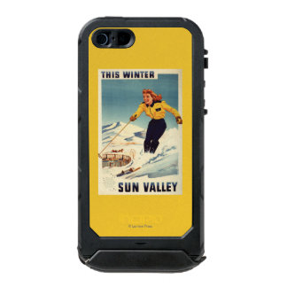 Red-headed Woman Smiling and Skiing Poster Waterproof Case For iPhone SE/5/5s