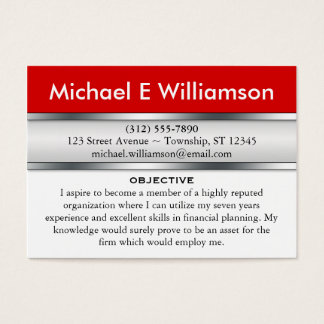 Red Header RESUME Business Cards  Resume Business Cards
