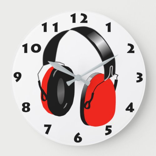 RED HEADPHONES WITH BLACK NUMBERS LARGE CLOCK
