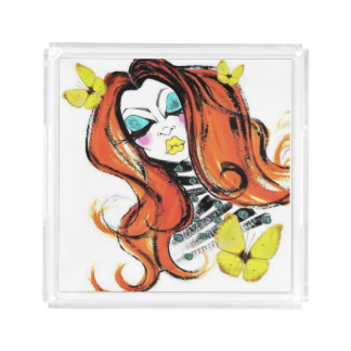 Red Heads & Butterflies Cosmetic & Jewelry Tray