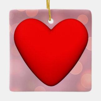 Red heart - 3D render Ceramic Ornament
