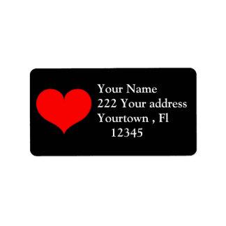 Red Heart Address Label