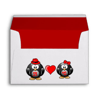 Red Heart Adorable Penguins Hat Ribbon Love Pair Envelope