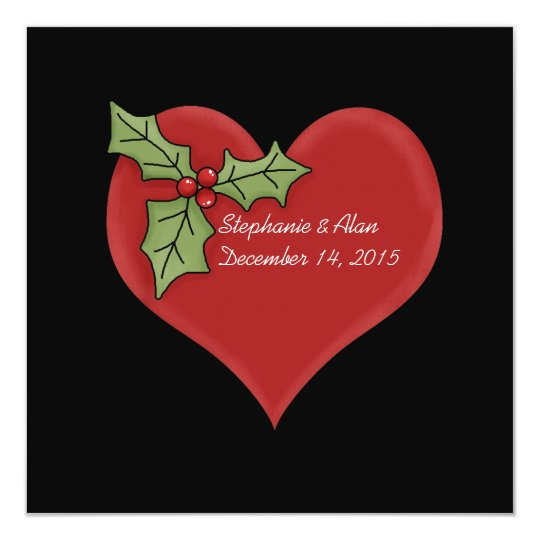 Red Heart and Green Holly Christmas Wedding Card
