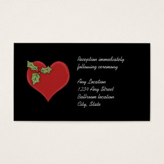 Red Heart and Green Holly Wedding Reception Cards
