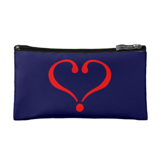 Red heart and love opened in day of San Valentin Makeup Bag