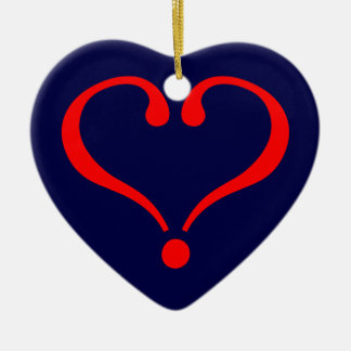 Red heart and love opened in day of San Valentin Ceramic Ornament