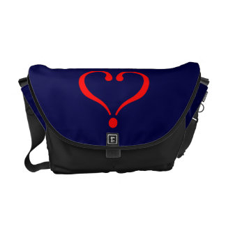 Red heart and love opened in day of San Valentin Messenger Bag