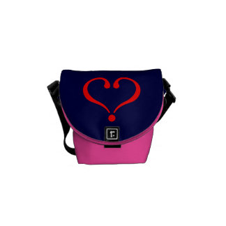 Red heart and love opened in day of San Valentin Messenger Bags