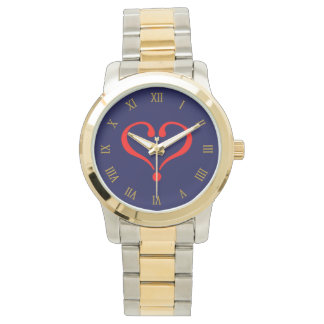 Red heart and love opened in day of San Valentin Watches