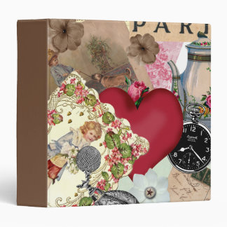 Red Heart and Paris 3 Ring Binder