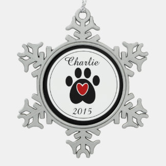 Red Heart and Paw Print Snowflake Pewter Christmas Ornament