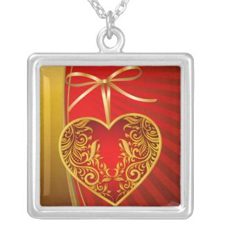 Red Heart and Ribbon Bow Personalized Necklace