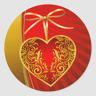 Red Heart and Ribbon Bow Sticker