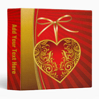 Red Heart and Ribbon Bow Vinyl Binder