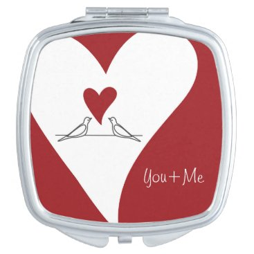 Red Heart and White Birds Love Simple Modern Compact Mirror