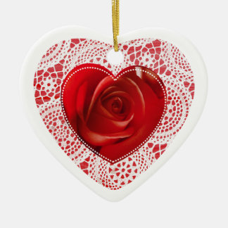 Red Heart and White Lace ornament