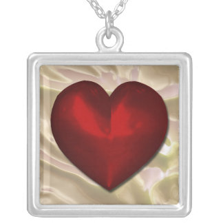 Red Heart and White Satin Necklace
