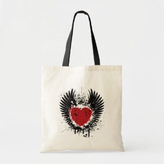 Red Heart And Wings Grunge Background Jumbo Tote