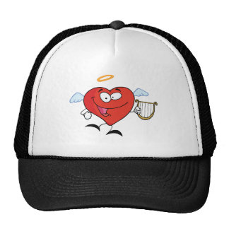 Red Heart Angel Flying With A Lyre Mesh Hats