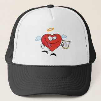 Red Heart Angel Flying With A Lyre Trucker Hat