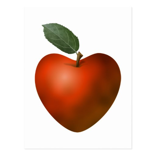 Red Heart Apple - postcard