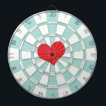 """RED HEART Aqua And White Dart Board<br><div class=""""desc"""">RED HEART Aqua And White Dart Board</div>"""