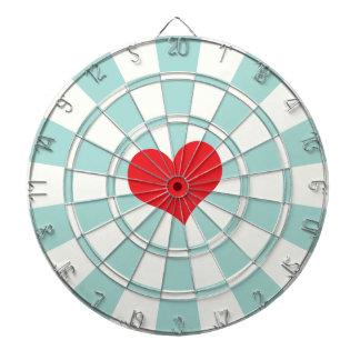 RED HEART Aqua And White Dart Board