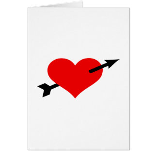 Red heart arrow greeting card