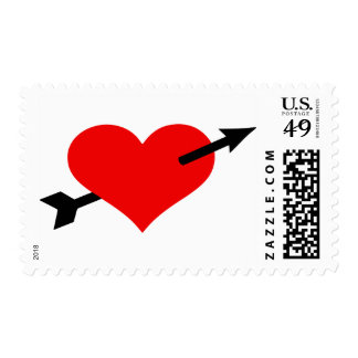 Red heart arrow postage